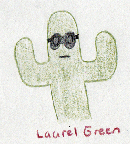 a drawing of a cactus wearing sunglasses