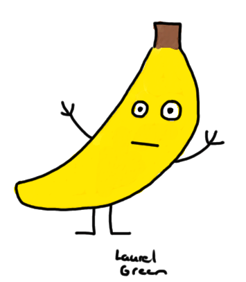 a drawing of an anthropomorphized banana