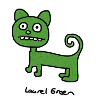 a drawing of a green cat