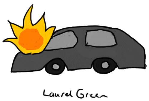 a drawing of a tesla model s on fire