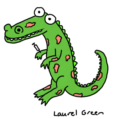 a drawing of a crocodile covered in lesions with a syringe in its arm
