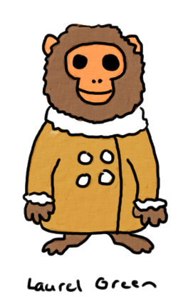 a drawing of ikea monkey in his shearling coat