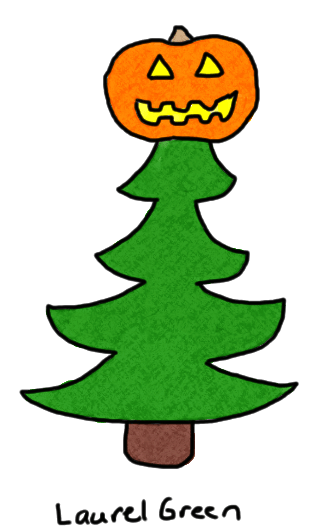 a drawing of a christmas tree topped with a jack-o'-lantern
