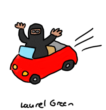 a drawing of a saudi arabian woman driving a car
