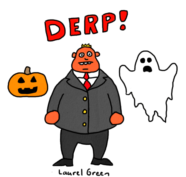 a drawing of toronto mayor rob ford surrounded by halloween decorations