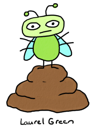 a drawing of a fly on a pile of poo