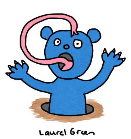 a drawing of a blue bear in a hole with a long tongue
