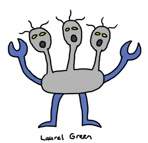 a drawing of a three-headed monster