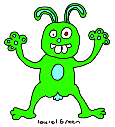 a drawing of a green rabbutt