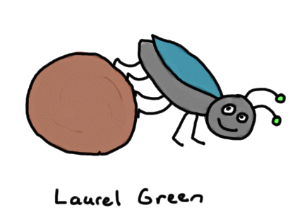 a drawing of a dung beetle rolling some poo