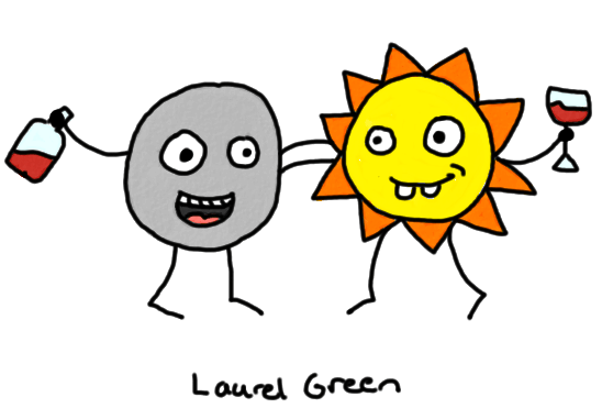 a drawing of the moon and the sun drinking wine