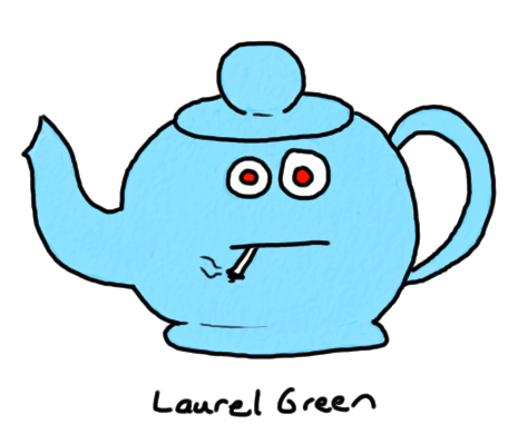a drawing of a teapot smoking a cigarette