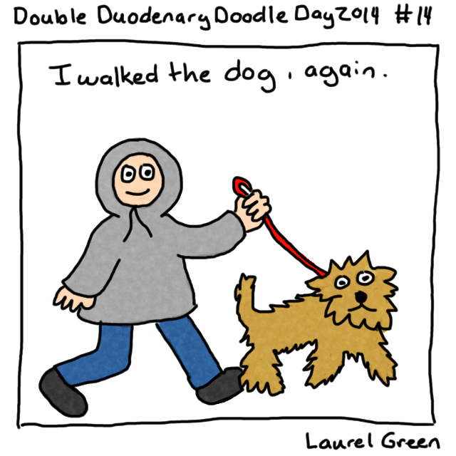 a drawing of laurel wearing a parka and walking her dog