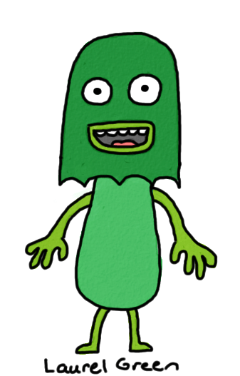 a drawing of a green creature