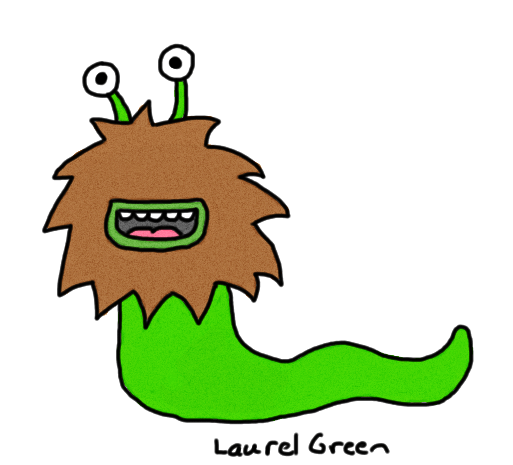 a drawing pf a slug with facial hair