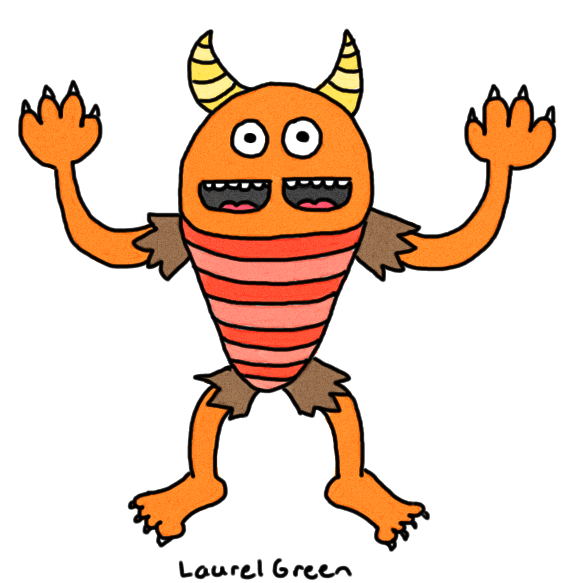a drawing of a horned monster with two mouths