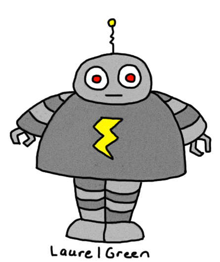 a drawing of a robot with a lightning bolt symbol on its chassis