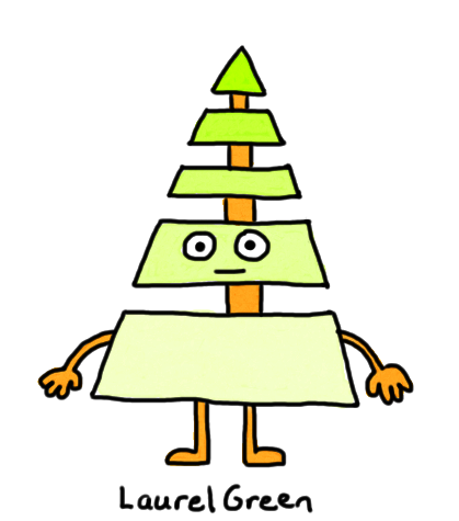 a drawing of a guy made up of a segmented triangle