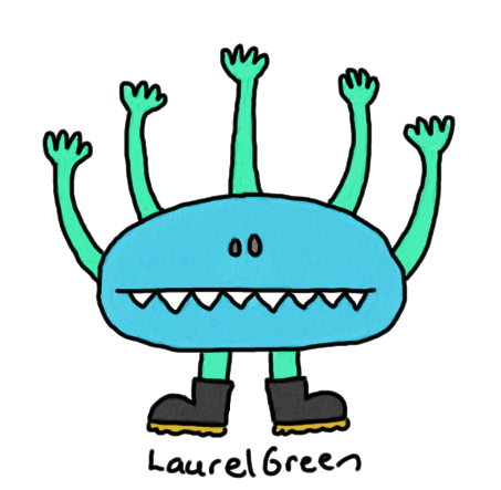 a drawing of a monster, with five arms, wearing boots
