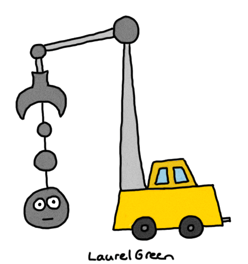 a drawing of a strange wrecking ball-like machine
