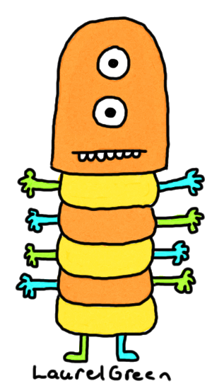a drawing of a creature with vertical eyes, a segmented body and man arms