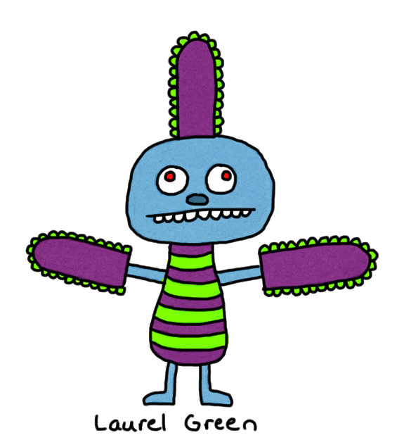 a drawing of a weird creature with weird purple things attached to its head and arms