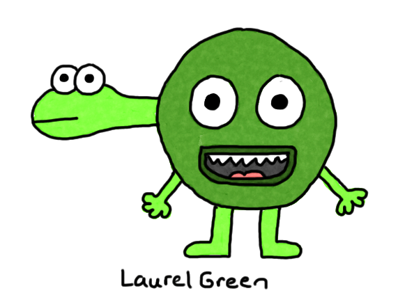 a drawing of a weird green creature with a turtle's head poking out of its head