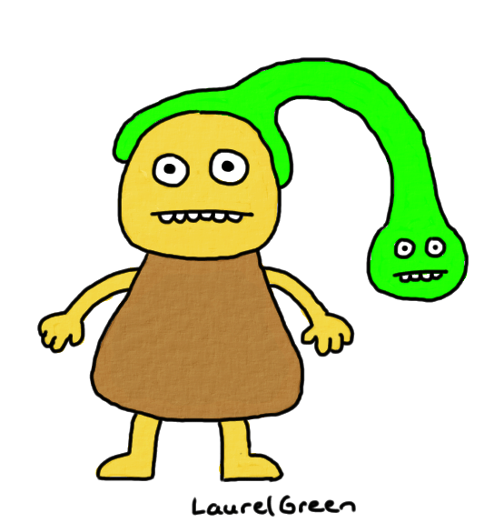 a drawing of a creature with a green parasitic creature growing out of its head