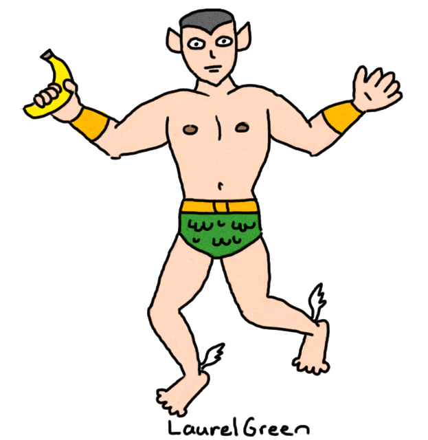 a drawing of gay namor the sub-mariner holding a banana