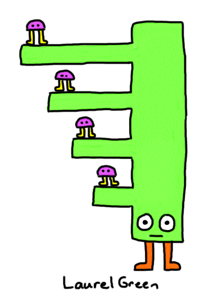 a drawing of little critters standing on the protrusions of a rectangular creature