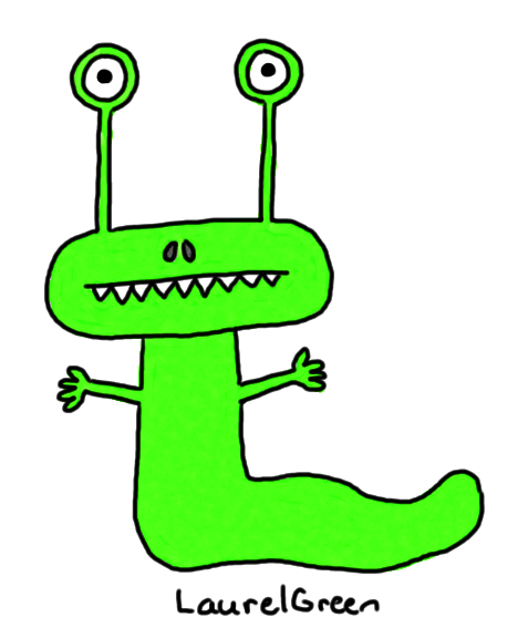 a drawing of a green slug guy