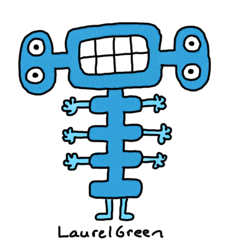 a drawing of a strange, blue creature with lots of arms, lots of eyes and a strangely-shaped body