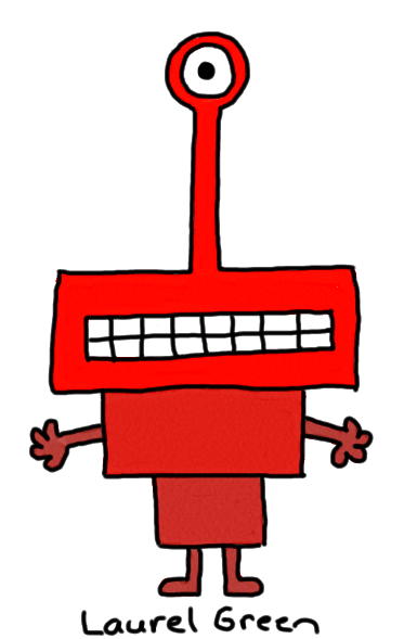 a drawing of a red creature with only one eye and a body made up of rectangles