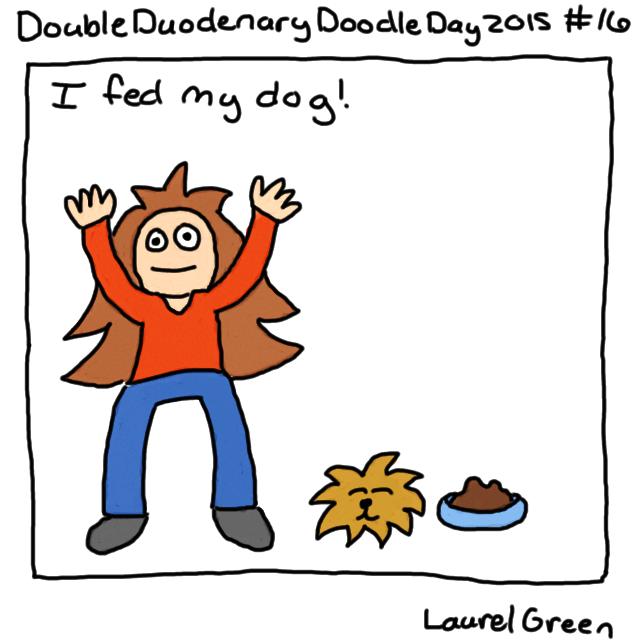 a drawing of laurel green feeding her dog