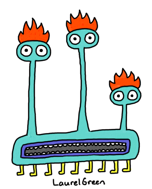 a drawing of a creature with three heads, a giant mouth and many legs