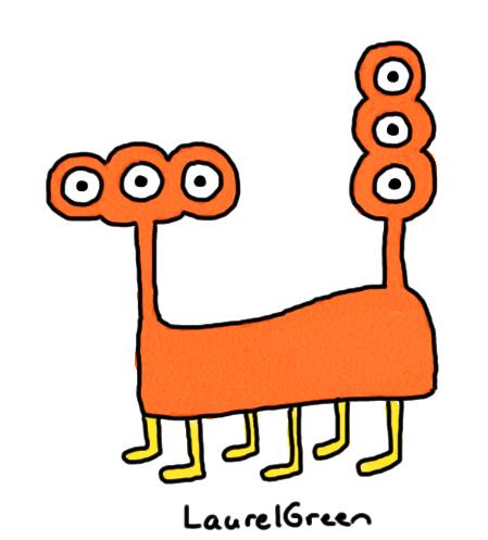 a drawing of a six-legged animal with many strange eyes