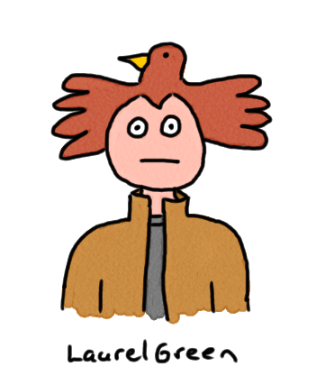 a drawing of a guy with bird for hair