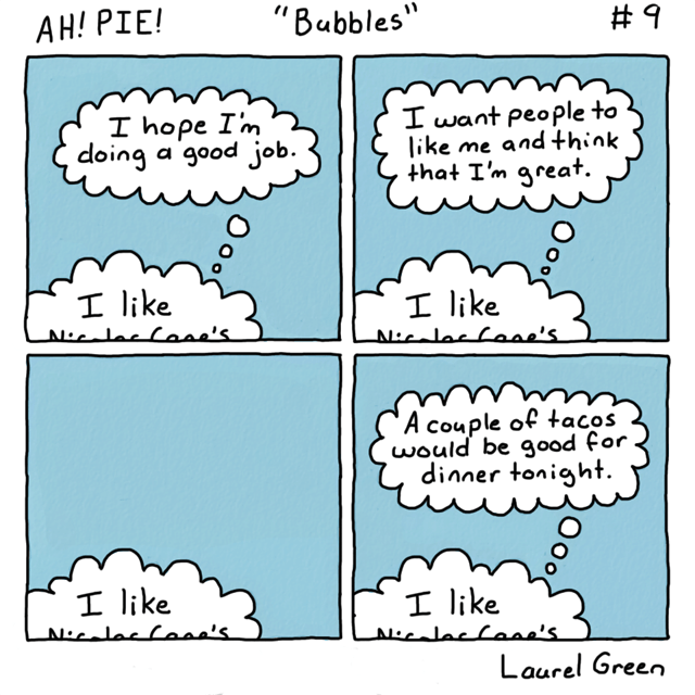 a comic about a thought bubbles anxieties