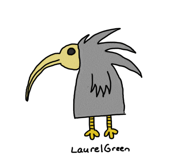 a drawing of a scary bird