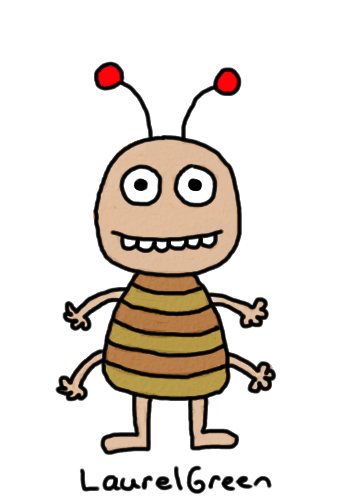 a drawing of a goofy-looking bug