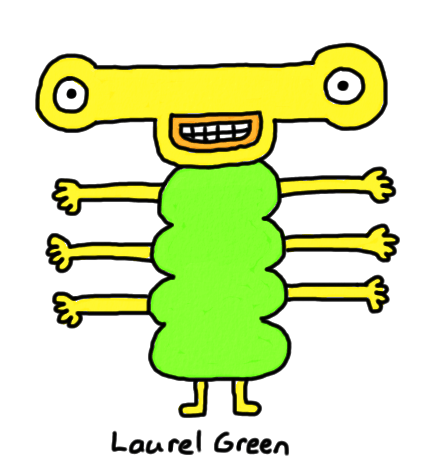 a drawing of a grinning creature with six arms
