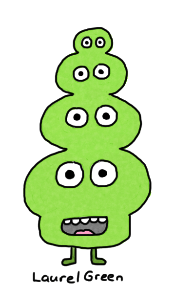 a drawing of a creature that is a tower of eyes