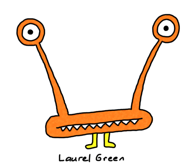 a drawing of a creature with wide-set eyes