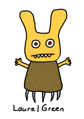 a drawing of an evil bunny thing