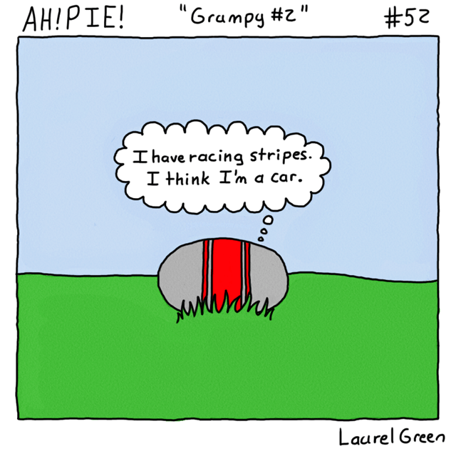 a comic about a rock with racing stripes drawn on it
