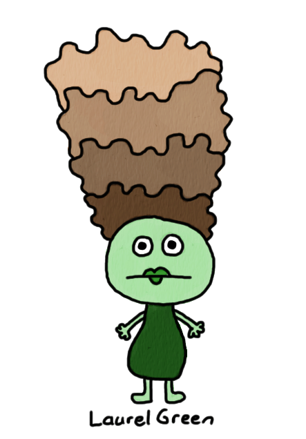 a drawing of a lady with poop hair