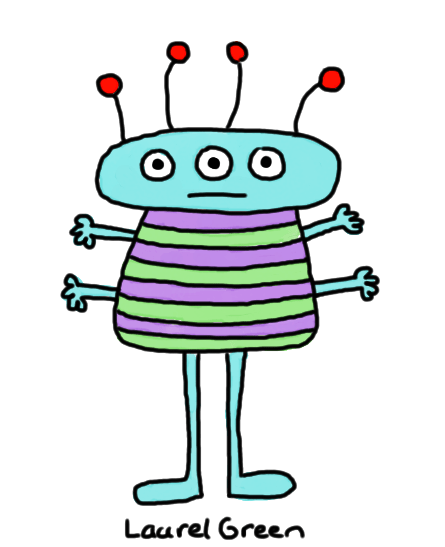 a drawing of a tall, stripy person with four arms