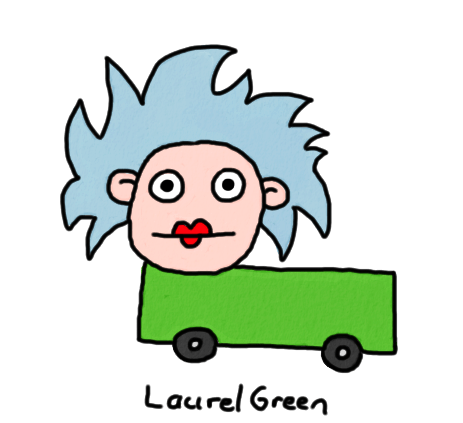 a drawing of a truck that is also a lady