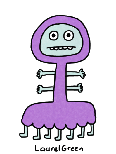 a drawing of a creature with seven legs and four arms