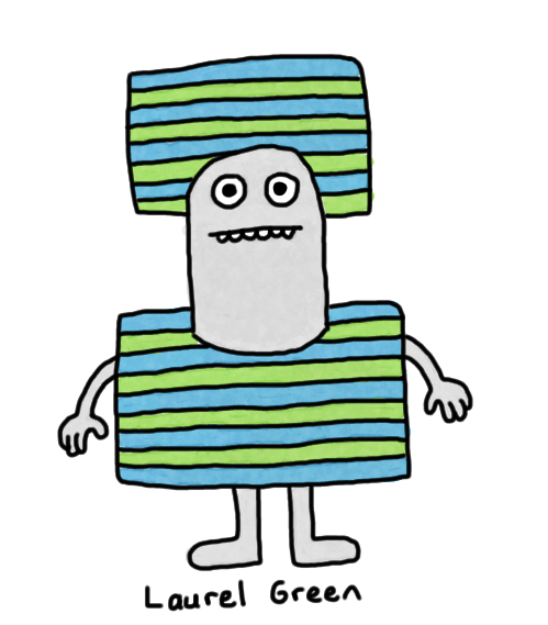 a drawing of a weird square striped dude